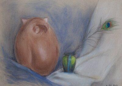 """""""Owl and vase"""" pastel 2010 / 50x40 cm"""