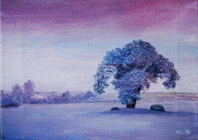 """Single tree"" oil 2018 / 24x33 cm"