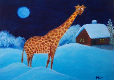 """Lonely giraffe in the snow"" oil 2017 / 30x40 cm"