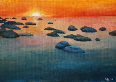 """Icy sunset"" oil 2018 / 27x41 cm"