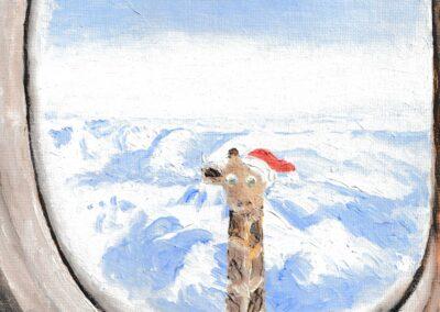 """Christmas wonder on a plane"" oil 2019 / 27x22 cm"