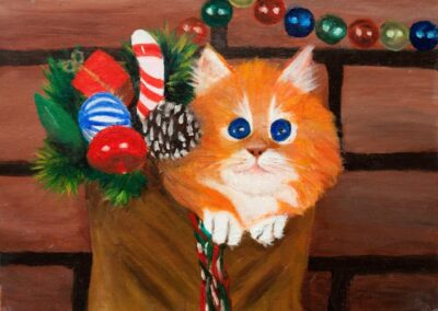"""""""Christmas cat"""" oil 2007 / 33x24 cm / Donated"""