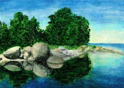 """Rocky beach"" watercolor 1991 / 27x21 cm"