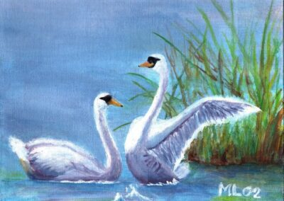 """Swans"" oil 2002 / 27x22 cm"