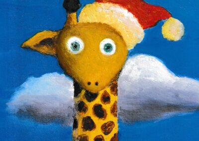 """Cloudy giraffe"" oil 2019 / 27x22 cm"