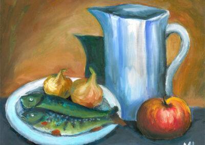 """Still Life with Fish"" acrylic 2001"
