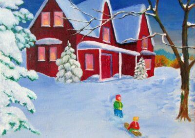 """Winter joys"" oil 2012 / 40x40 cm"